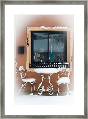 Come To Tea In Any Weather 1 - Spring - Snow Storm Framed Print by Andee Design