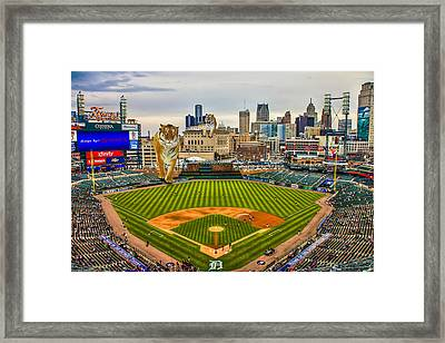 Framed Print featuring the photograph Comerica Park Detroit Mi With The Tigers by Nicholas  Grunas