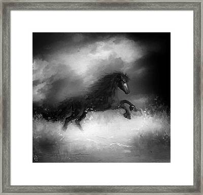Comes A Dark Horse Framed Print by Hazel Billingsley