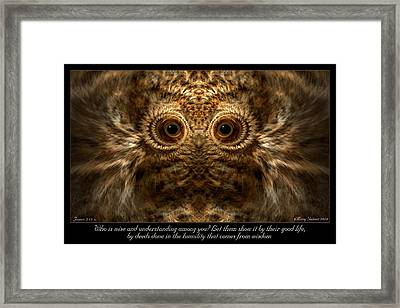 Comes From Wisdom Framed Print
