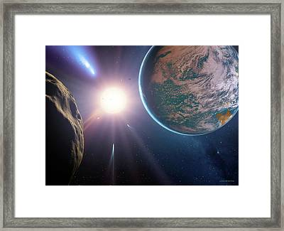Comet Approaching Earth-like Planet Framed Print