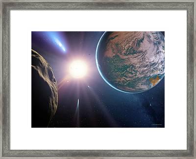 Comet Approaching Earth-like Planet Framed Print by Detlev Van Ravenswaay