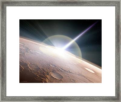 Comet Colliding With Mars Framed Print by Detlev Van Ravenswaay