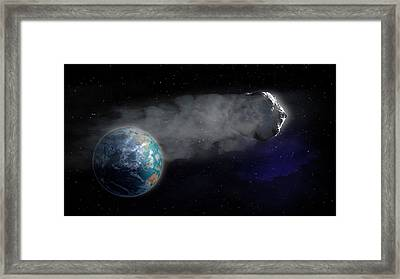 Comet Flying Towards Earth Framed Print by Andrzej Wojcicki