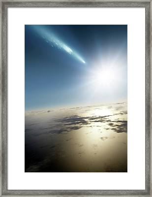Comet Over Earth Framed Print by Detlev Van Ravenswaay