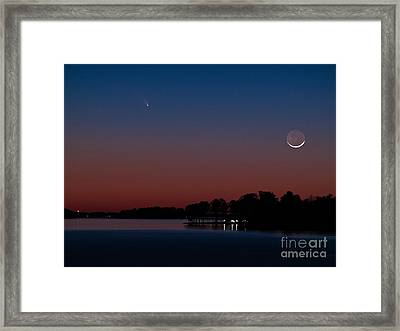 Comet Panstarrs And Crescent Moon Framed Print
