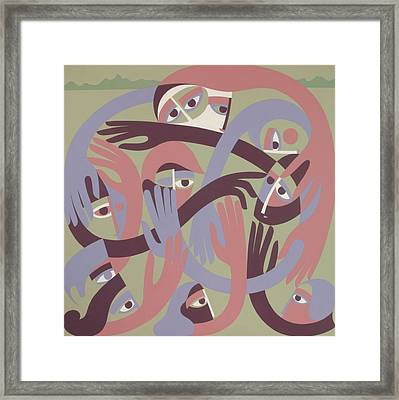 Comforters, 1983 Acrylic On Board Framed Print by Ron Waddams