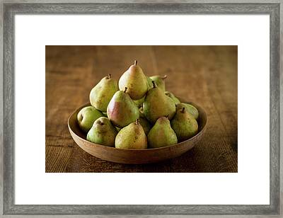 Comice Pears In Bowl Framed Print by Aberration Films Ltd