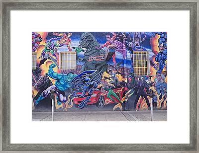 Comics Mural Albuquerque Framed Print by Mary Lee Dereske