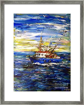 Framed Print featuring the painting Coming Back by Arturas Slapsys