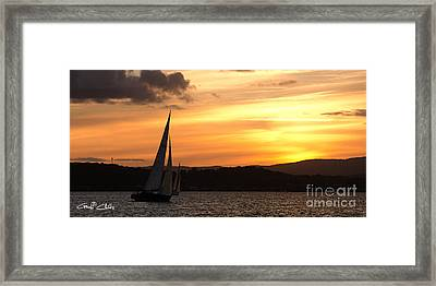 Coming Home .  Sunset Framed Print by Geoff Childs
