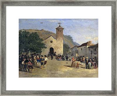 Coming Out From A Mass. Anonymous Framed Print