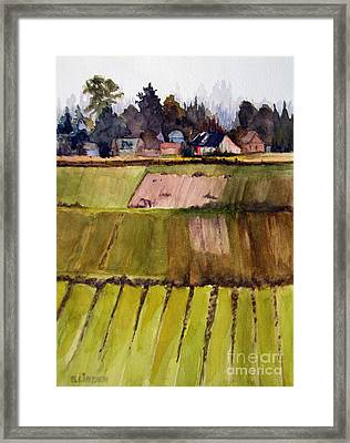 Framed Print featuring the painting Coming Out Of The Fog Skagit Valley Wa by Sandy Linden