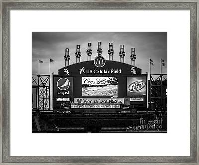 Comiskey Park U.s. Cellular Field Scoreboard In Chicago Framed Print