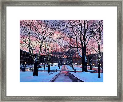 Snowfall On Comm Ave Boston  Framed Print