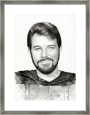 Commander William Riker Star Trek Framed Print by Olga Shvartsur