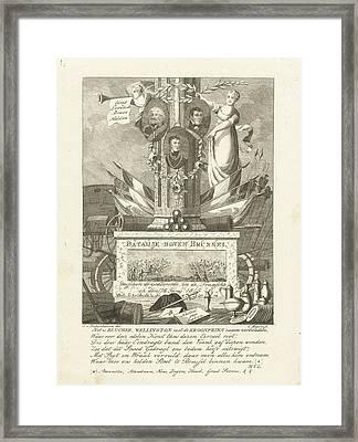 Commemorative Column Battle Of Waterloo, Cornelis Bogerts Framed Print by Cornelis Bogerts