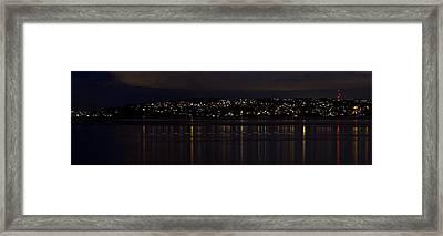 Commencement Bay Light Trail Framed Print