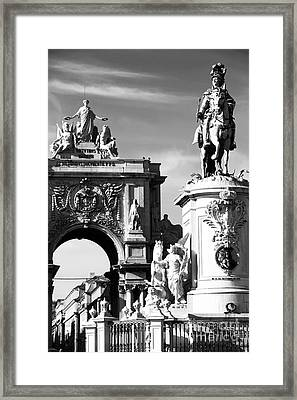 Commerce Square Statues Framed Print by John Rizzuto