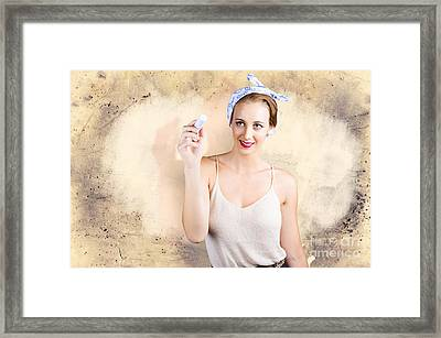 Commercial Cleaning Woman Writing Message Framed Print