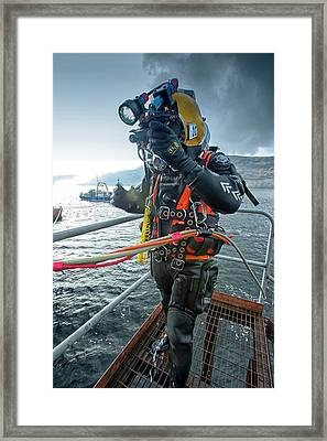 Commercial Diver In Diving Suit Framed Print by Louise Murray