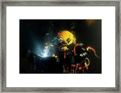 Commercial Diver Welding Framed Print