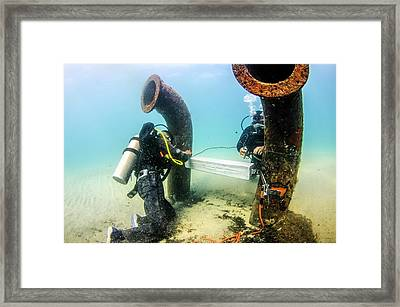 Commercial Divers Underwater Framed Print