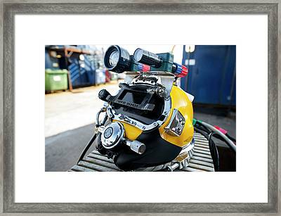 Commercial Diving Helmet Framed Print by Louise Murray