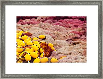 Commercial Fishing Nets With Floats Framed Print