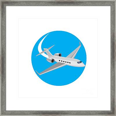 Commercial Light Passenger Airplane Circle Retro Framed Print by Aloysius Patrimonio