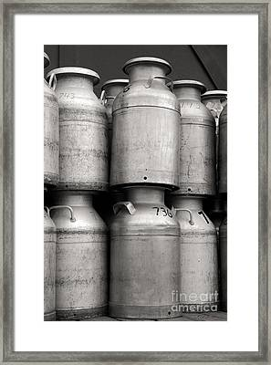 Commercial Milk Cans Black And White Framed Print by Iris Richardson