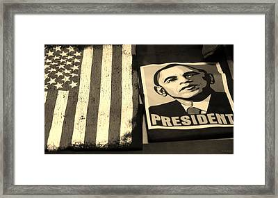 Commercialization Of The President Of The United States In Sepia Framed Print