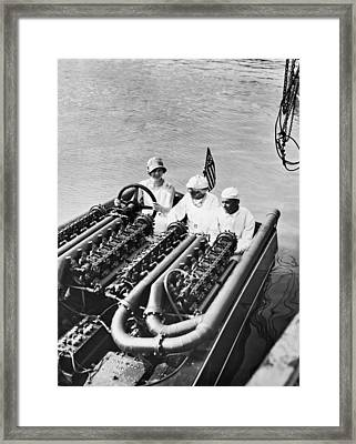 Commodore Gar Wood In His Speedboat, Miss America V Framed Print by Underwood Archives