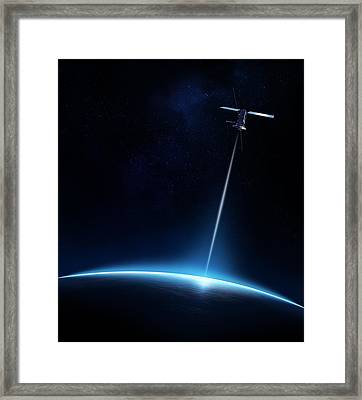 Communication Between Satellite And Earth Framed Print