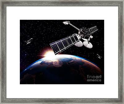 Communication Satellites In Space Above Earth With Rising Sun Framed Print