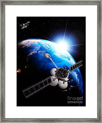 Communication Satellites Space Internet Concept Framed Print