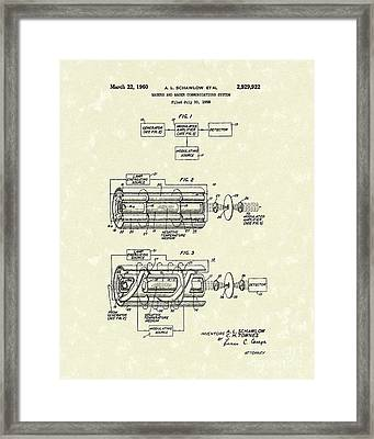 Communications System 1960 Patent Art Framed Print by Prior Art Design