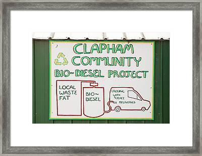 Community Biodiesel Project Framed Print