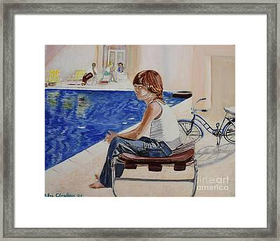 Community Pool Framed Print by Debra Chmelina