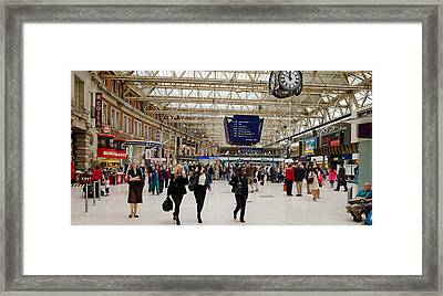 Commuters At A Railroad Station Framed Print by Panoramic Images