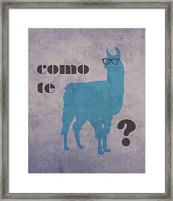 Como Te Llamas Humor Pun Poster Art Framed Print by Design Turnpike