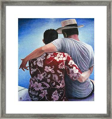 Framed Print featuring the painting Companions by Ron Richard Baviello