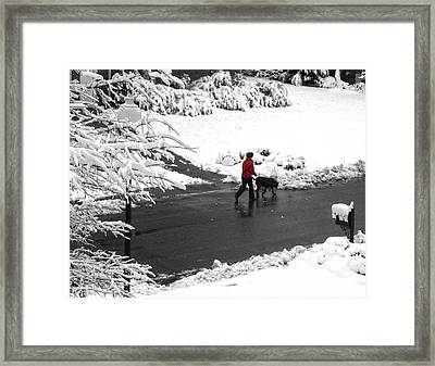 Companions Walking On Christmas Morning Framed Print by Sandi OReilly