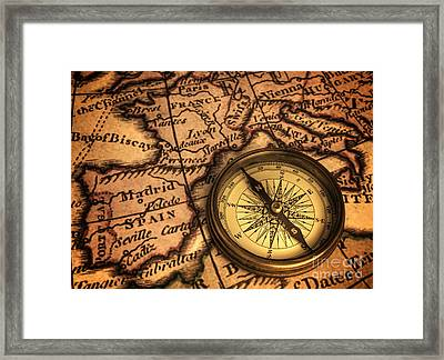 Compass And Ancient Map Of Europe Framed Print