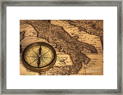Compass And Ancient Map Of Italy Framed Print
