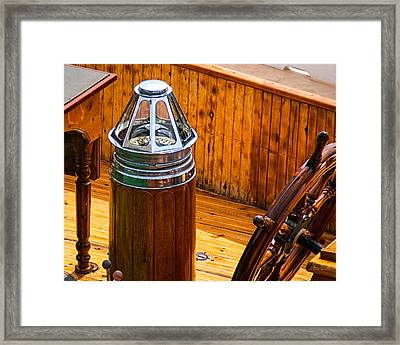 Compass And Bright Work Old Sailboat Framed Print by Bob Orsillo