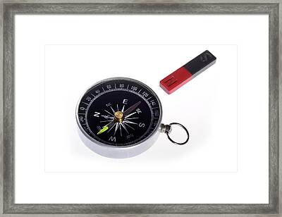 Compass And Magnet Framed Print
