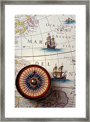Compass And Old Map With Ships Framed Print by Garry Gay