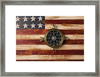Compass On Wooden Folk Art Flag Framed Print
