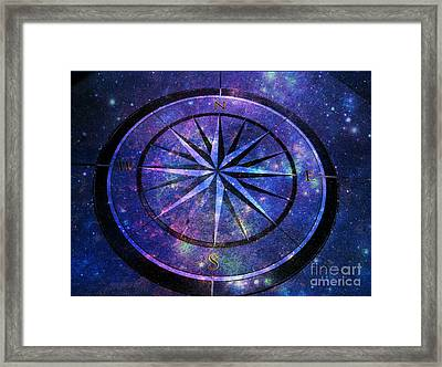 Compass With A Galaxy Framed Print